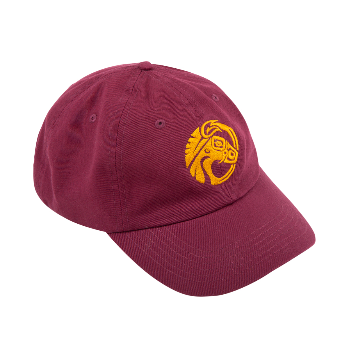 MAROON DAD HAT WITH GOLD MULEHEAD