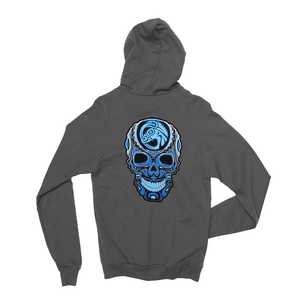 Grey Skull Logo Zip Hoodie