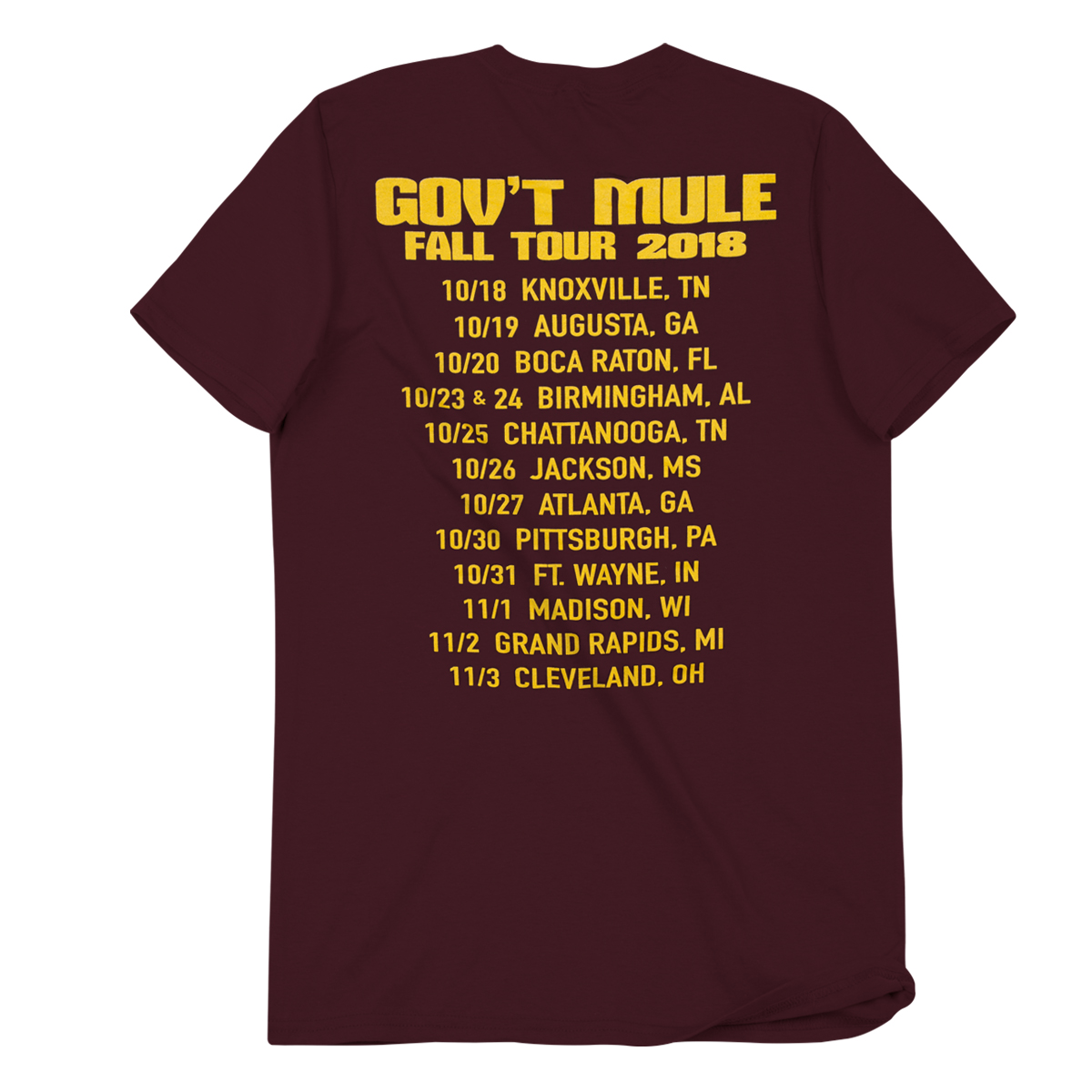 2018 Fall Tour Maroon T-Shirt