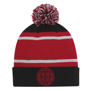 Red/Black Pom Beanie with Dose Logo