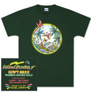 Gov't Mule Island Exodus 2014 Green T-Shirt