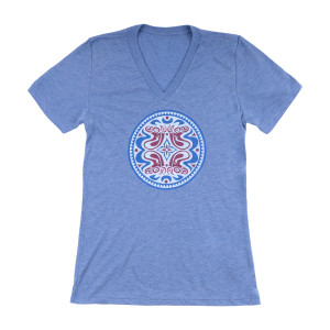 Blue V-Neck Ladies Dose T-Shirt