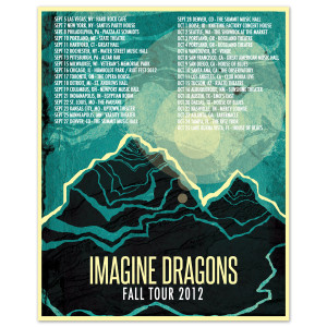 Imagine Dragons Autographed 2012 Tour Poster