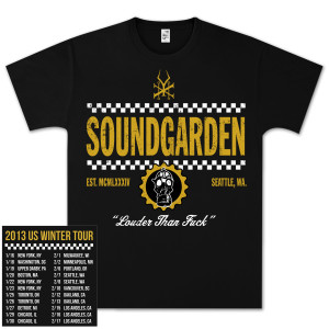 Soundgarden Straight Up Checkers Winter 2013 Tour T-Shirt