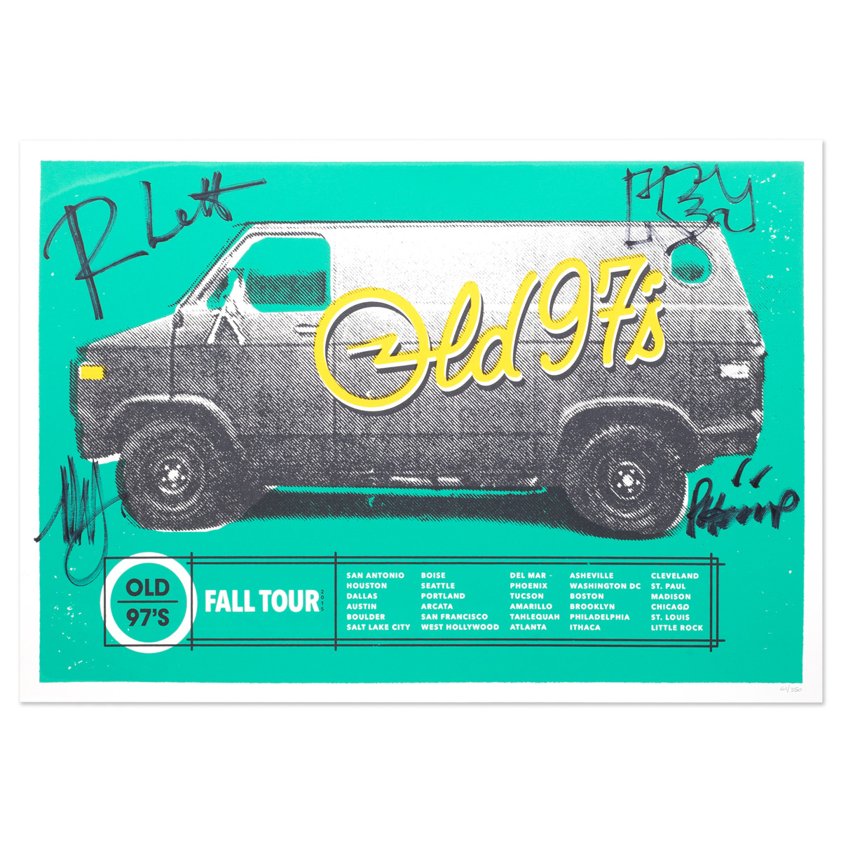 """Old 97's Fall 2015 """"Van� Signed Tour Poster"""