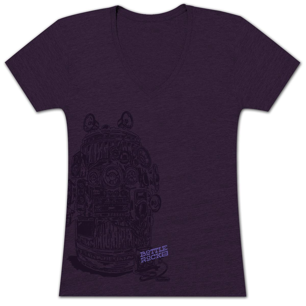 Bottle Rock Women's Premium V-Neck Amethist – T-Shirt