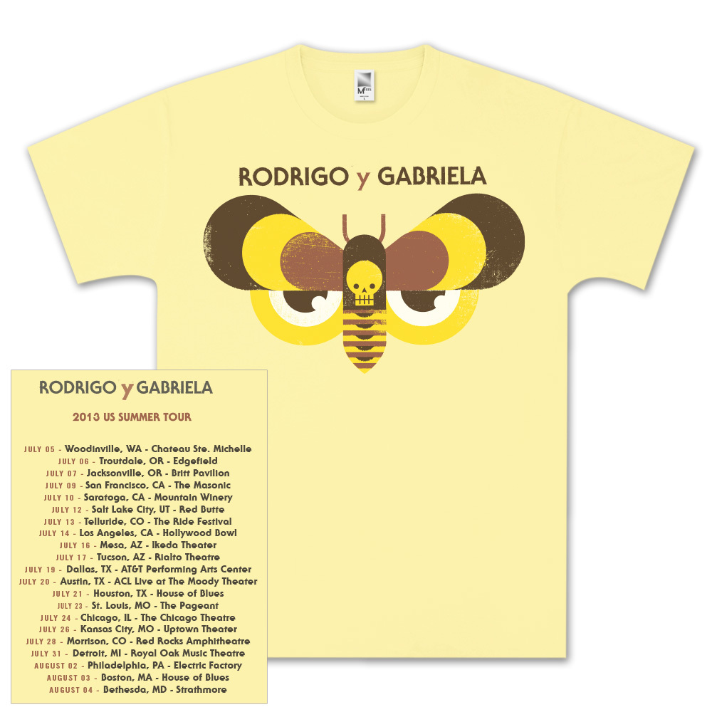 Rodrigo y Gabriela 2013 Tour Yellow Shirt