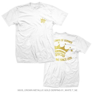 Metallic Gold Crown Derping White Tee