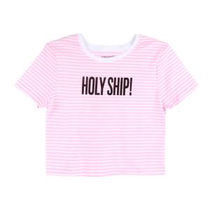 Women's Pink Striped Crop Top