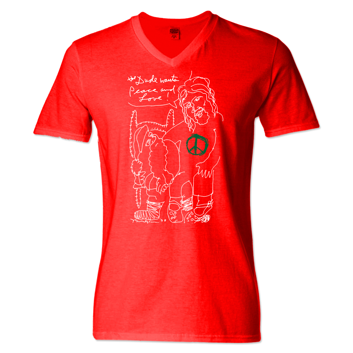 Jeff Bridges Christmas Red V-Neck T-shirt - Women's