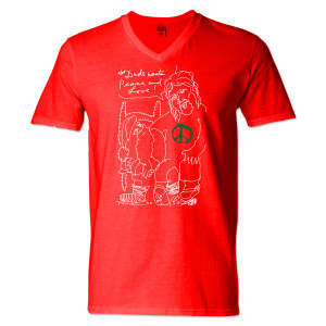 Jeff Bridges Christmas Red V-Neck T-shirt - Men's