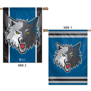 "Timberwolves Vertical 2 Sided Flag 28"" x 40"""