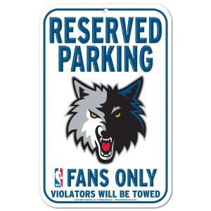 Timberwolves 11x17 Plastic Parking Sign