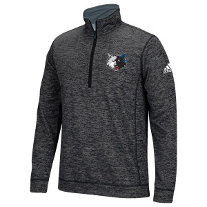 adidas Timberwolves Left Chest Full Color Emroidered 1/4 Zip Fleece Pullover