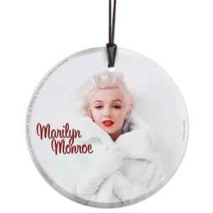 Marilyn Monroe White Fur Hanging Glass Print Ornament