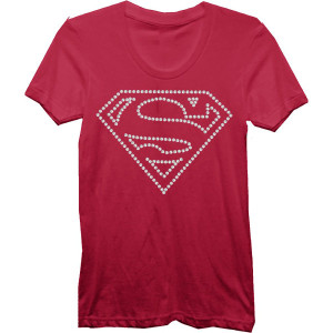 Supergirl Rhinestone S logo Junior T-shirt
