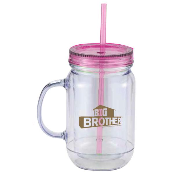 big brother mason jar handle tumbler pink shop the cbs official