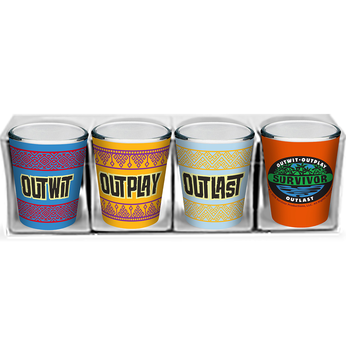Survivor Outwit, Outplay, Outlast Shot Glass Set