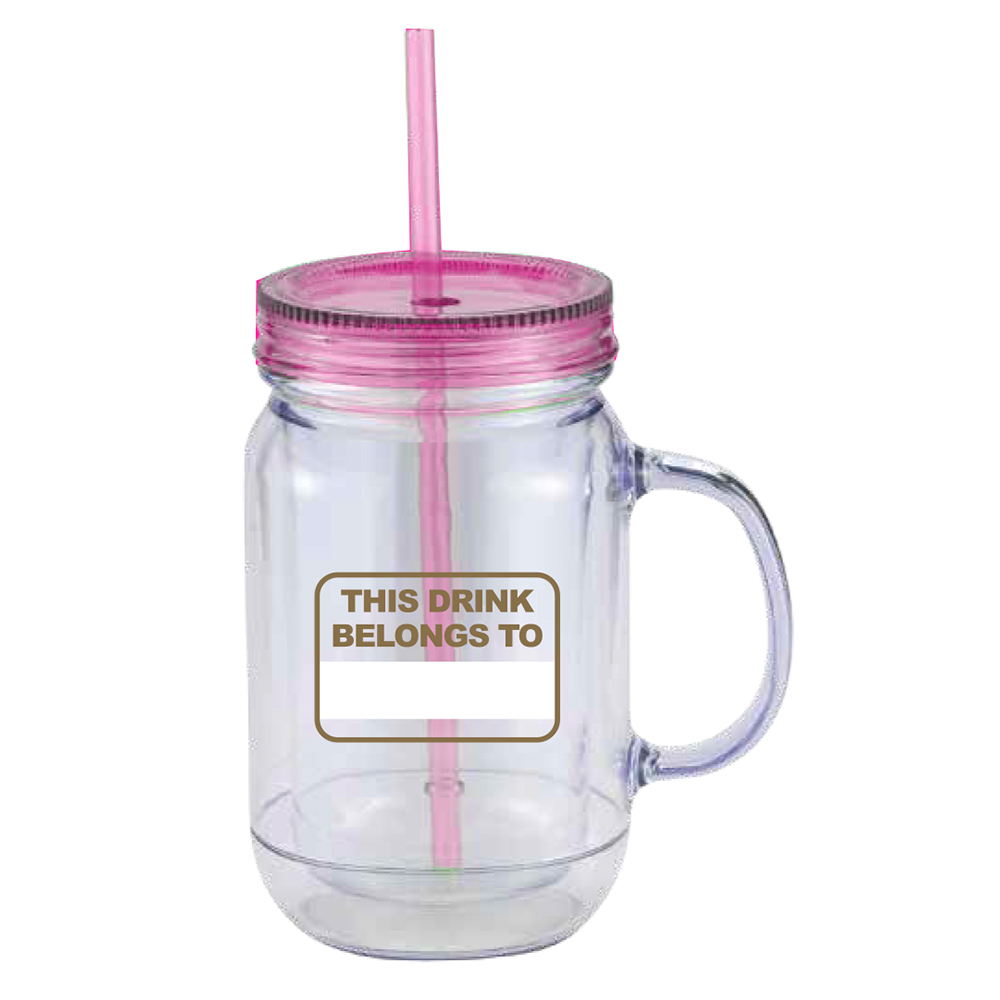 Big Brother Mason Jar Handle Tumbler (Pink)