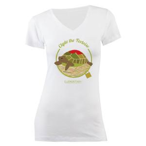 Elementary Clyde the Tortoise Junior Fit V-Neck T-Shirt