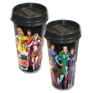 The Big Bang Theory Cast Superheroes Travel Tumbler