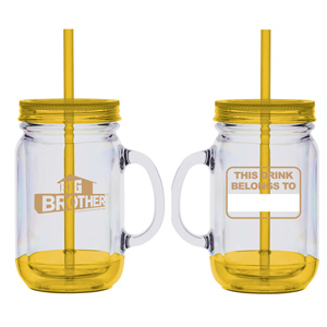 Big Brother Mason Jar Handle Tumbler (Yellow)