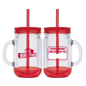 Big Brother Mason Jar Handle Tumbler (Red)