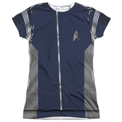 Star Trek Discovery Science Uniform Costume Junior Slim Fit T-Shirt