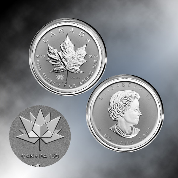 2017 1 oz Pure Silver Maple Leaf Reverse Proof canada 150TH ANNIVERSARY PRIVY