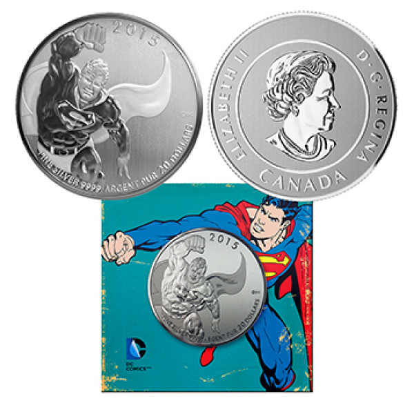 2015 Canada $20 Silver Coin ICONIC SUPERMAN Comic Book Covers Action Comics #1