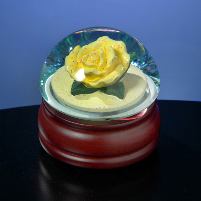 Yellow Rose  Water Globe