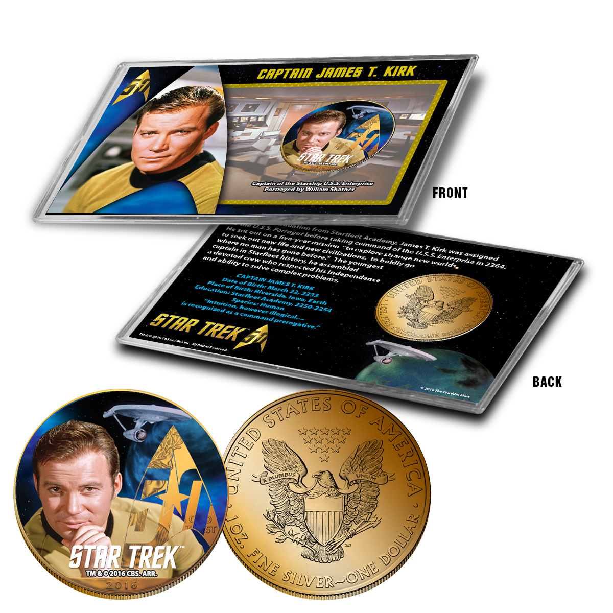 "Star Trek Colorized Silver Eagle Dollar - ""Kirk"""