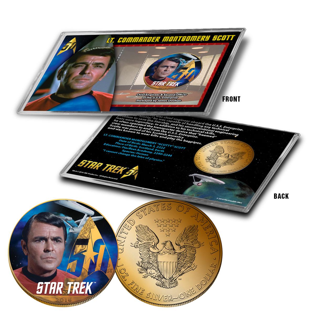 "Star Trek Colorized Silver Eagle Dollar - ""Scotty"""