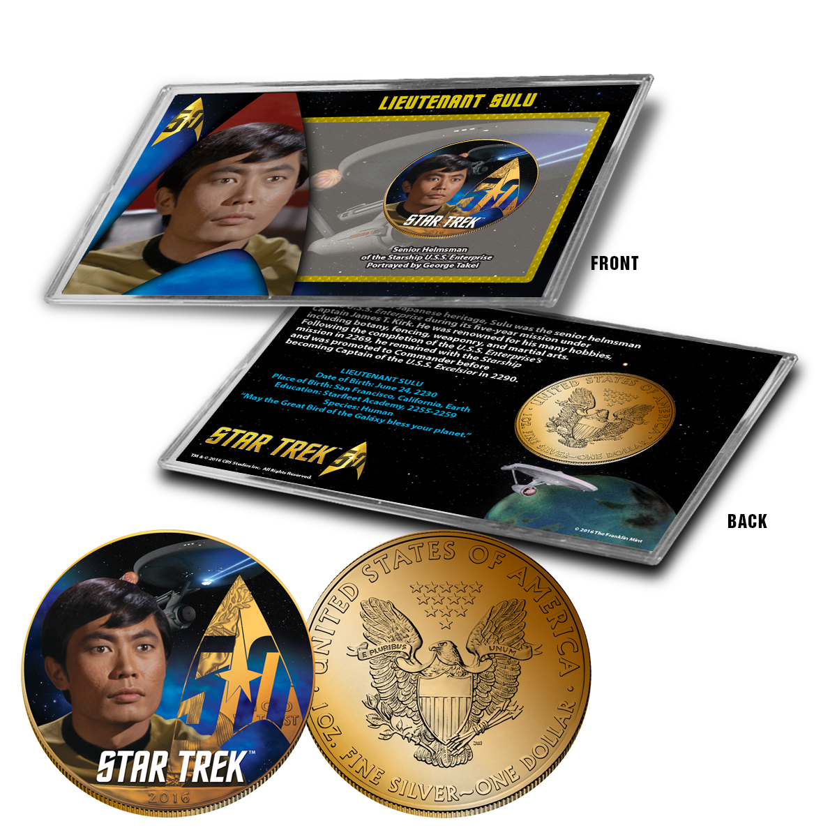 "Star Trek Colorized Silver Eagle Dollar - ""Sulu"""