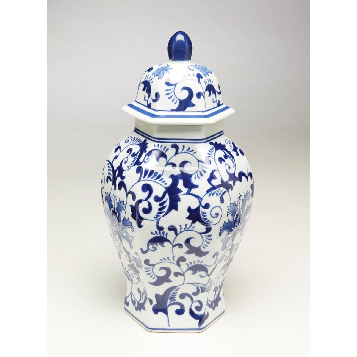 Blue & White Hexagon Ginger Jar