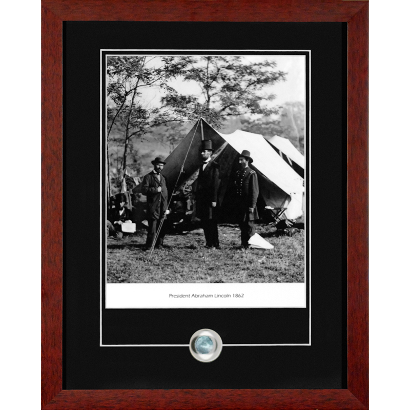 Abraham Lincoln photograph framed with Civil War Eagle Button