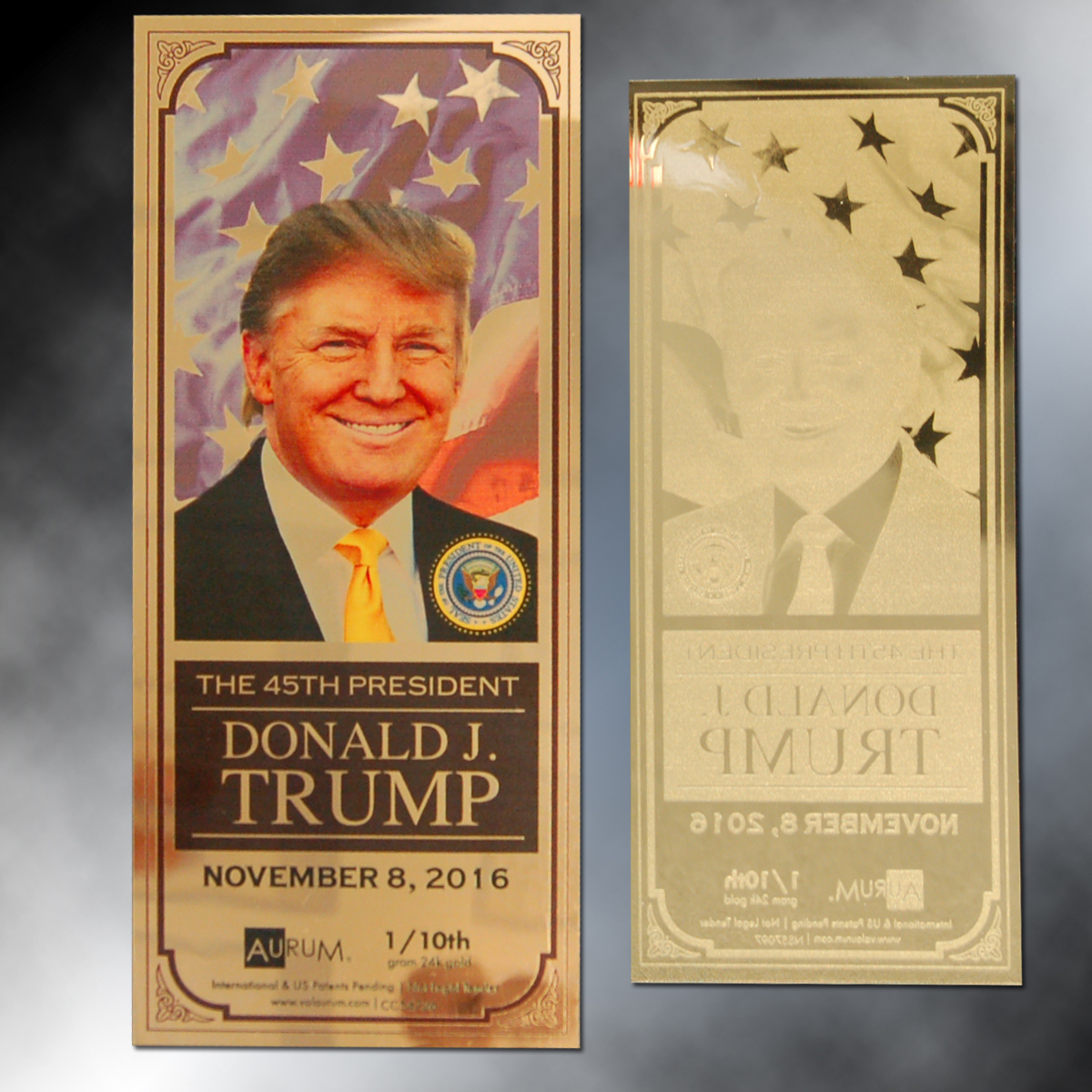 Donald Trump 45th President 1/10th Gram 24K Gold Aurum Note