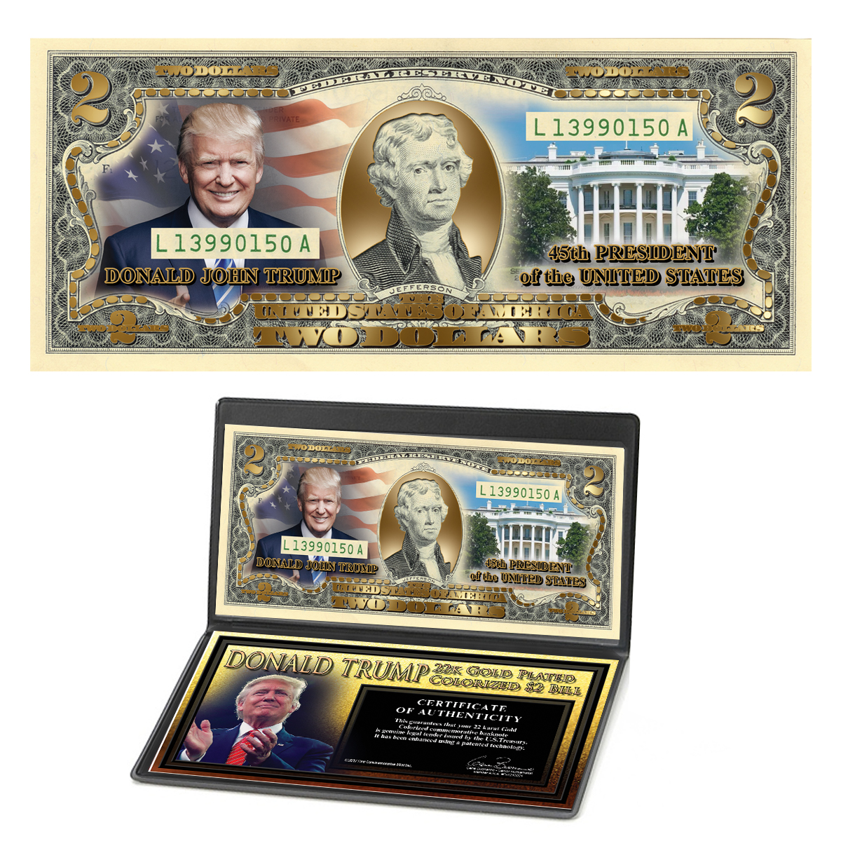 Donald Trump 45th President 22K Gold-Plated and Colorized $2 Bills