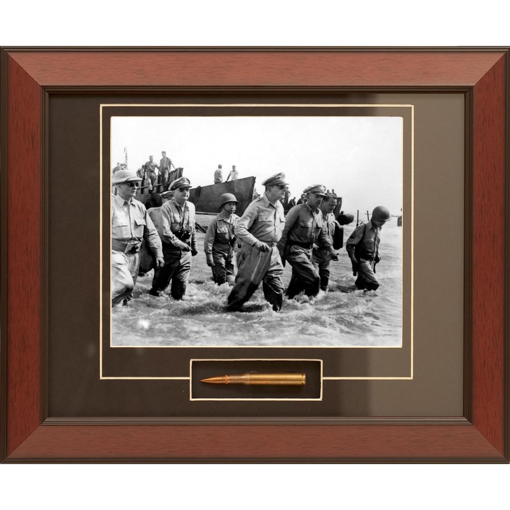 General MacArthur's Triumphant Return Framed Photograph With M1 Garand Bullet