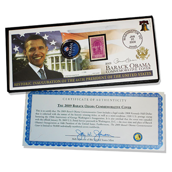 BARACK OBAMA PRESIDENTIAL COMMEMORATIVE COVER VICTORY ELECTION W/ OBAMA - BIDEN COIN LIMITED EDITION