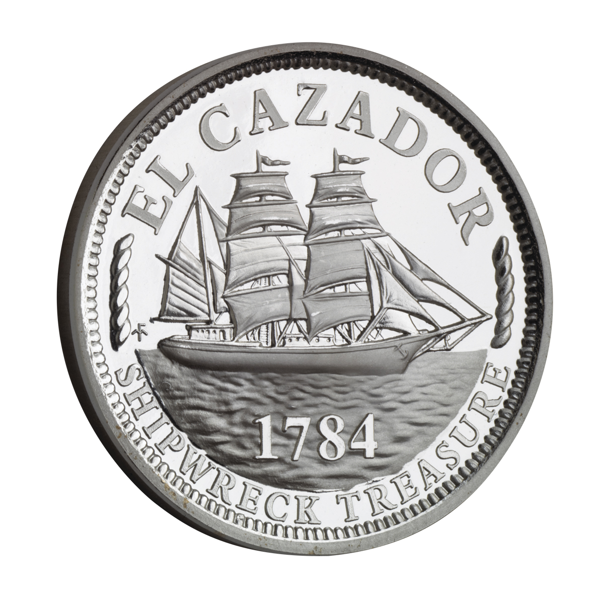 TREASURE COINS OF THE WORLD - EL CAZADOR SILVER TRIBUTE PROOF MEDALLION