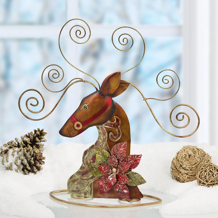 Metal Tabletop Card Holder - Reindeer