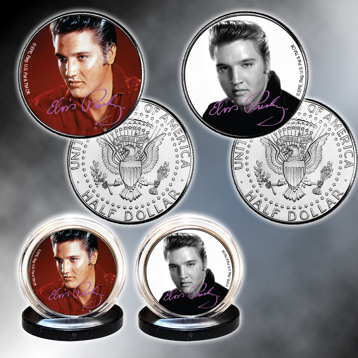 Set of 2 Elvis Colorized Half Dollar - Portraits