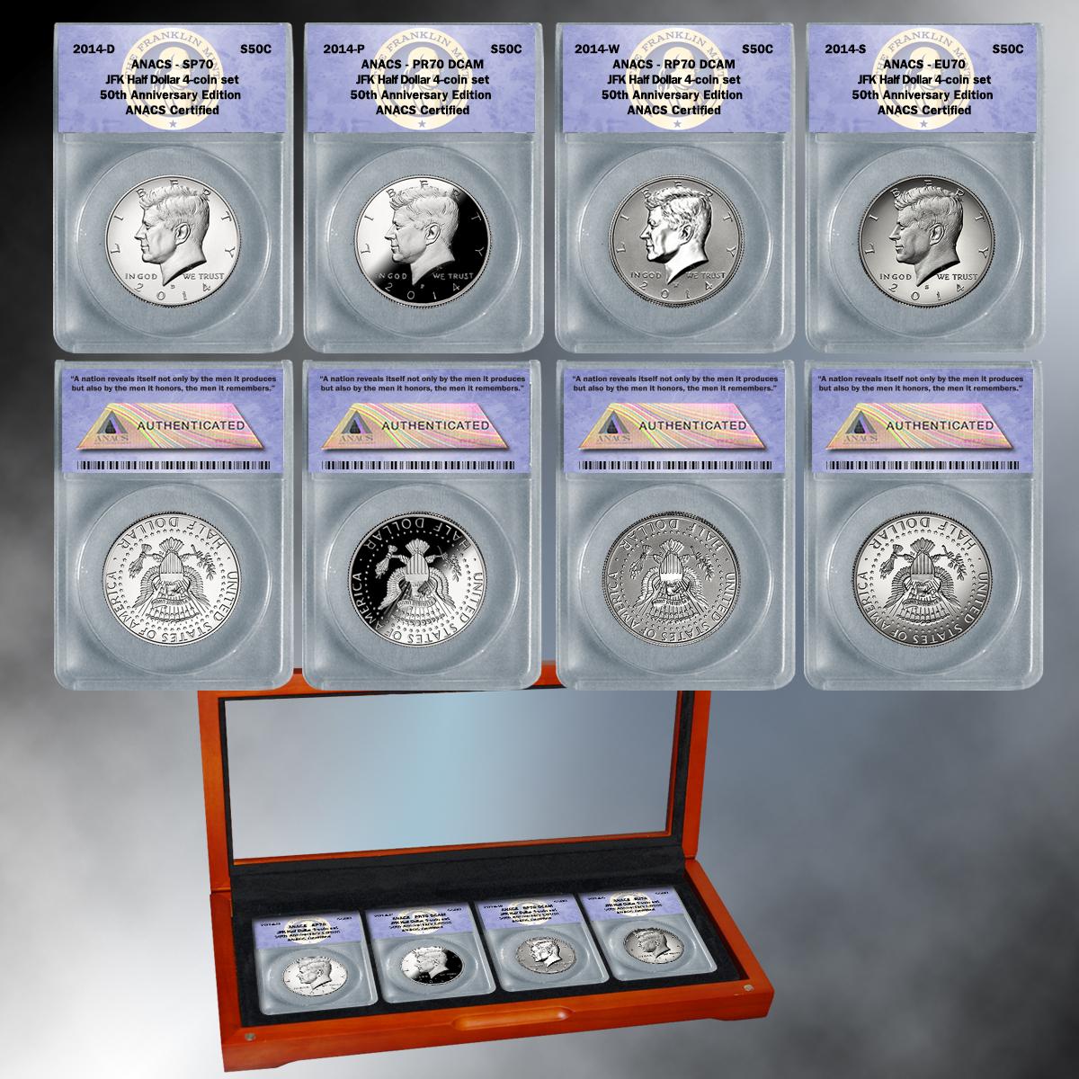 """2014 ANACS """"70"""" 4-piece 50th Anniversary Silver Kennedy Half Dollar Set"""