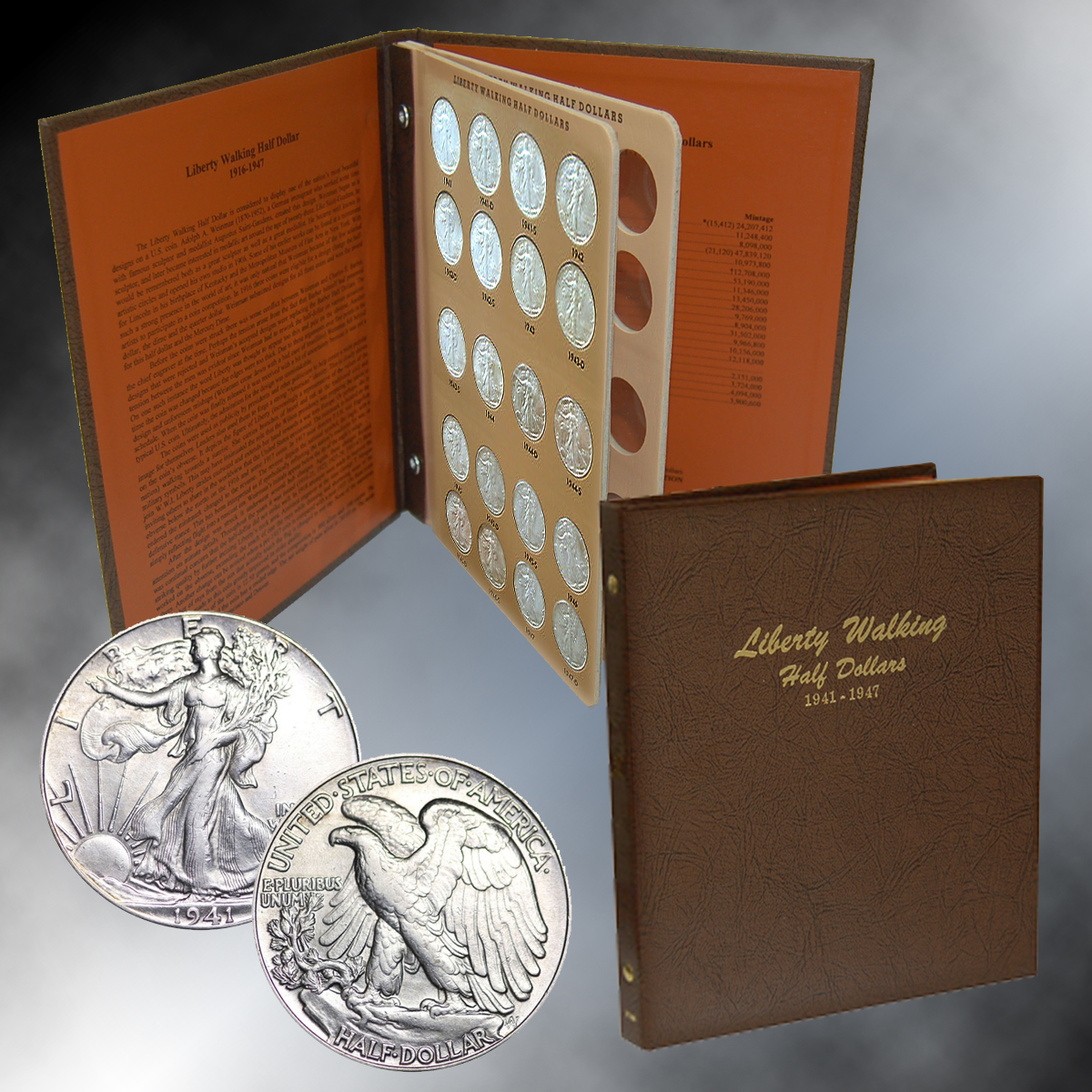 Walking Liberty Half Dollar Short Set Collection 1941-47 (Dansco Album)