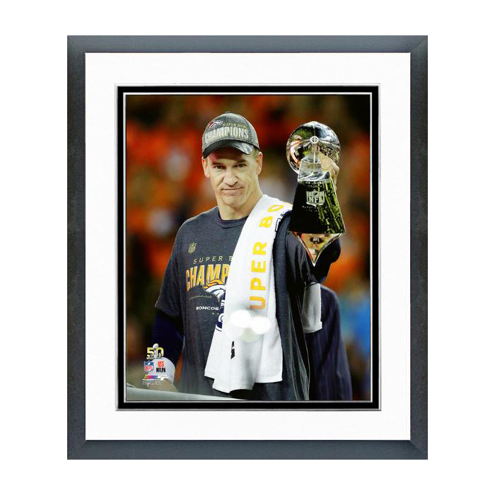 Peyton Manning with Vince Lombardi Trophy