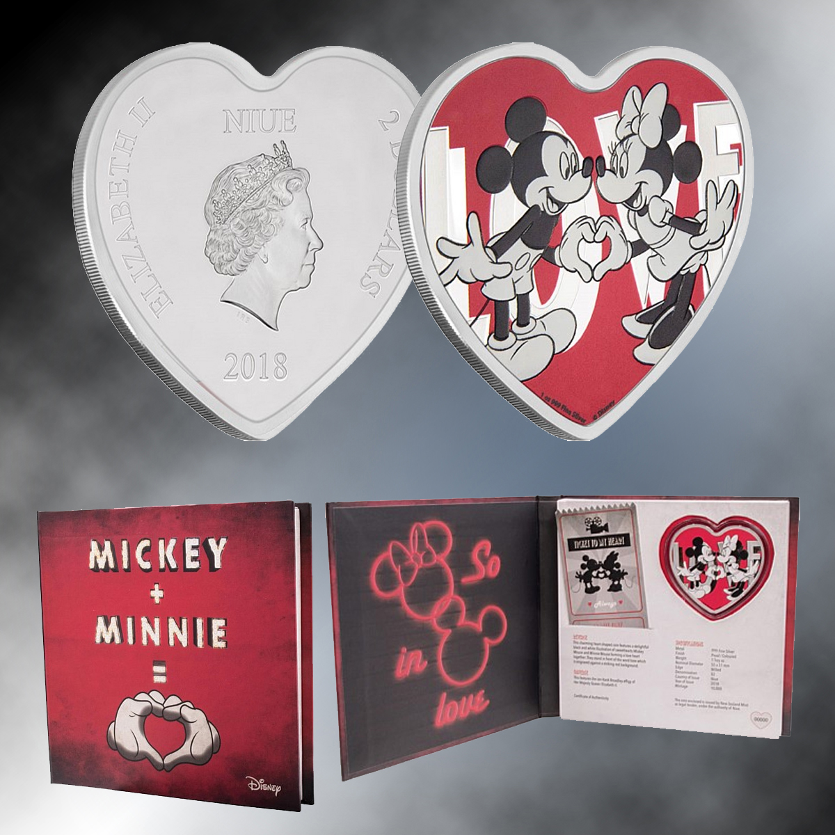 2018 Disney With Love - Silver Heart Shaped Coin