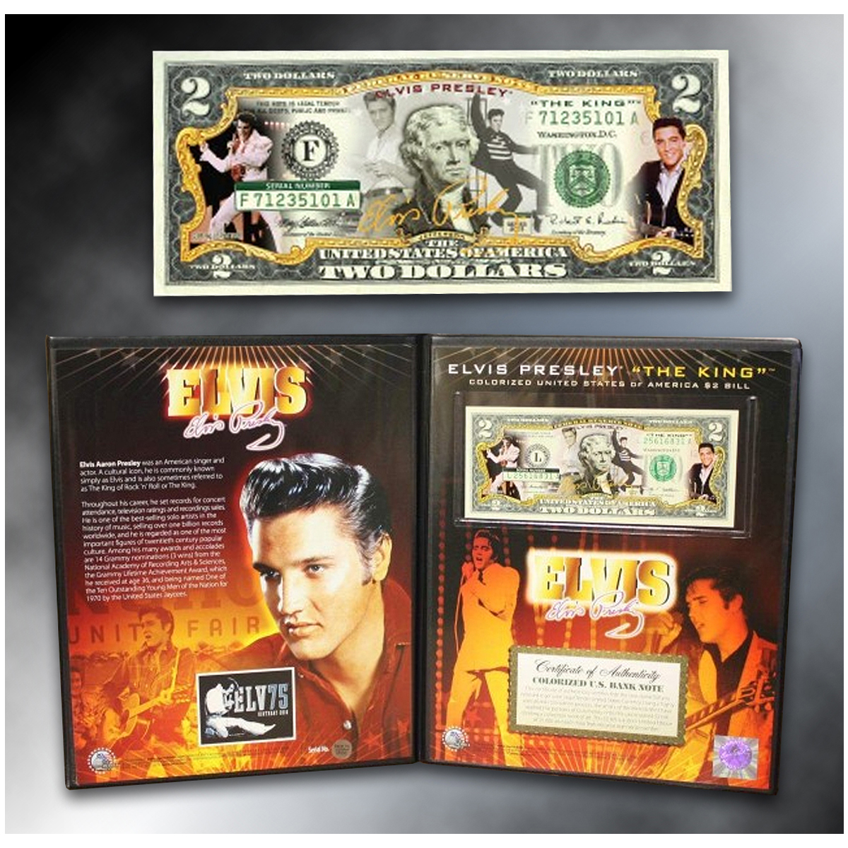 ELVIS PRESLEY - The King / Jailhouse Rock -  Colorized $2 Bill