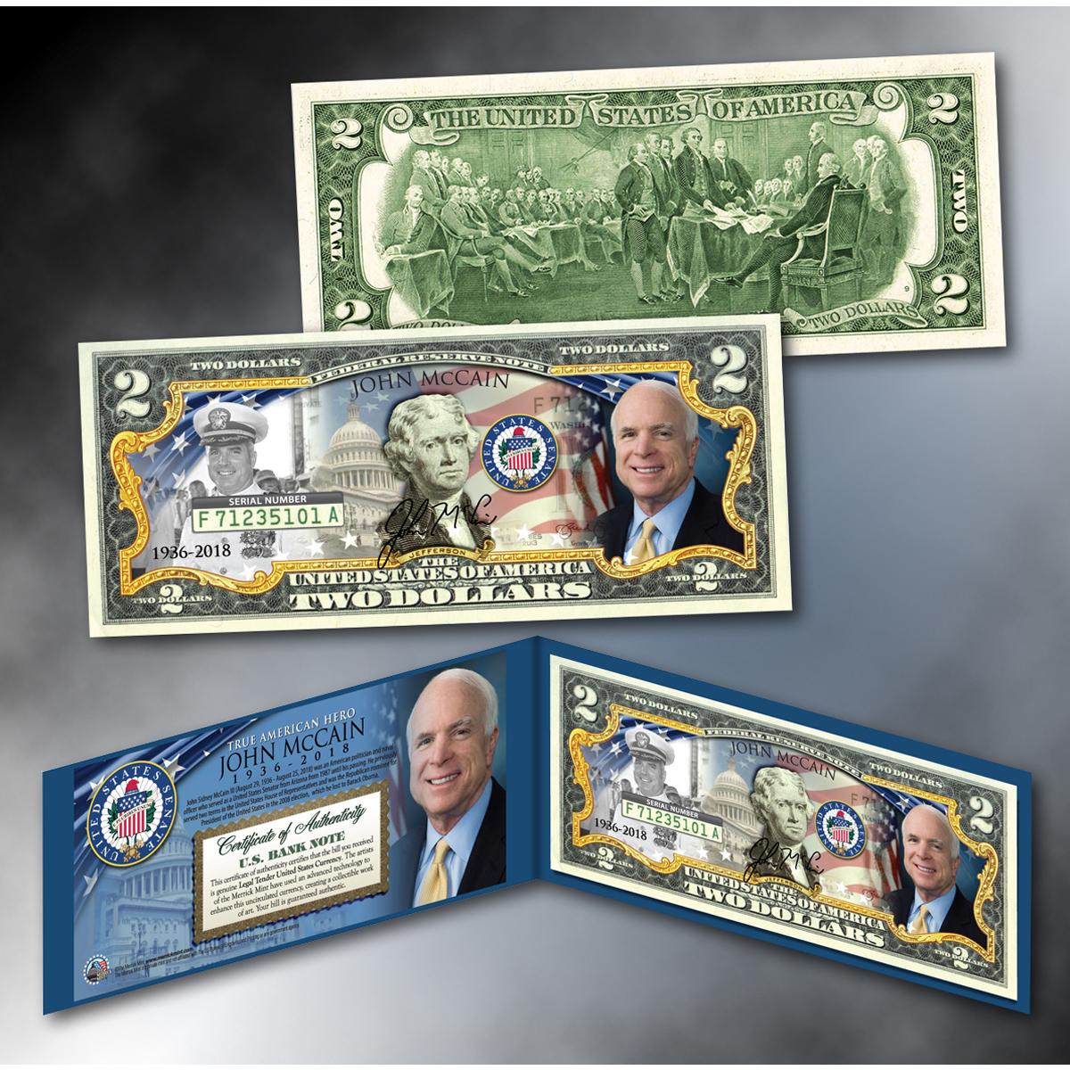 John McCain Colorized $2 Bill