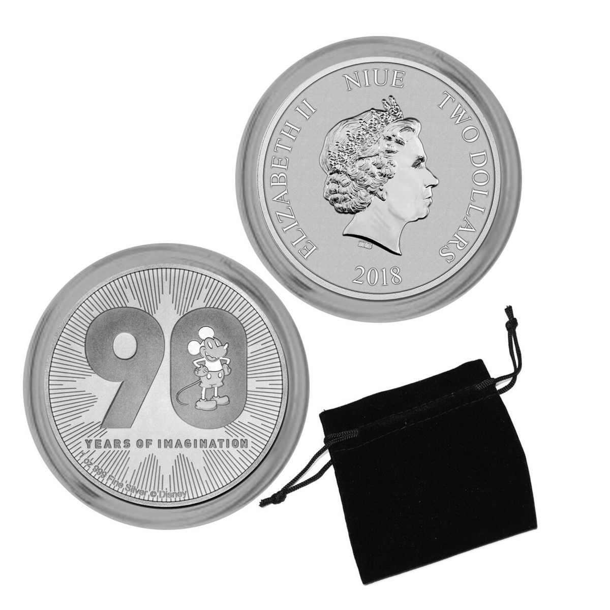 2018 Mickey Mouse 90th Anniversary 1oz. Silver Country of Niue $2 Coin